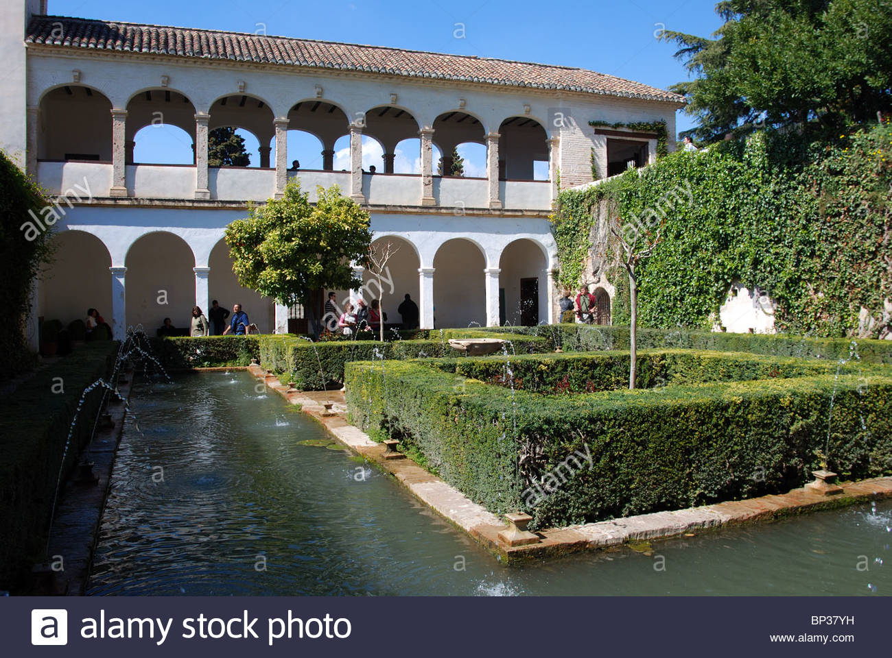 Generalife - Court of the Sultana (Patio de la Sultana), Palace of Alhambra, Granada, Granada Province, Andalucia, - Stock Image