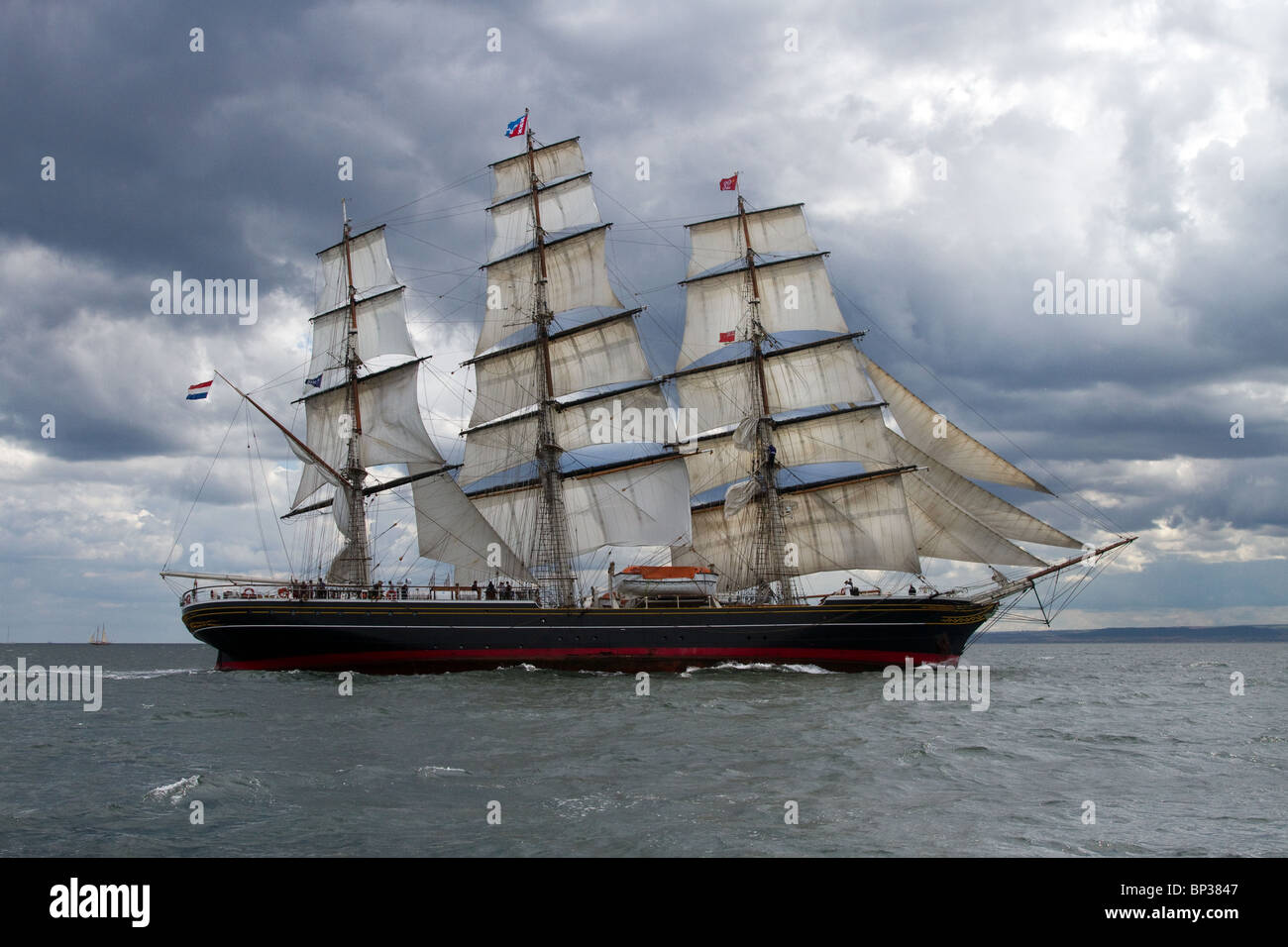 Stad Amsterdam at sea, a sailing voyage under square sail. Majestic Sailing Vessels at the 54th Annual Tall Ships - Stock Image