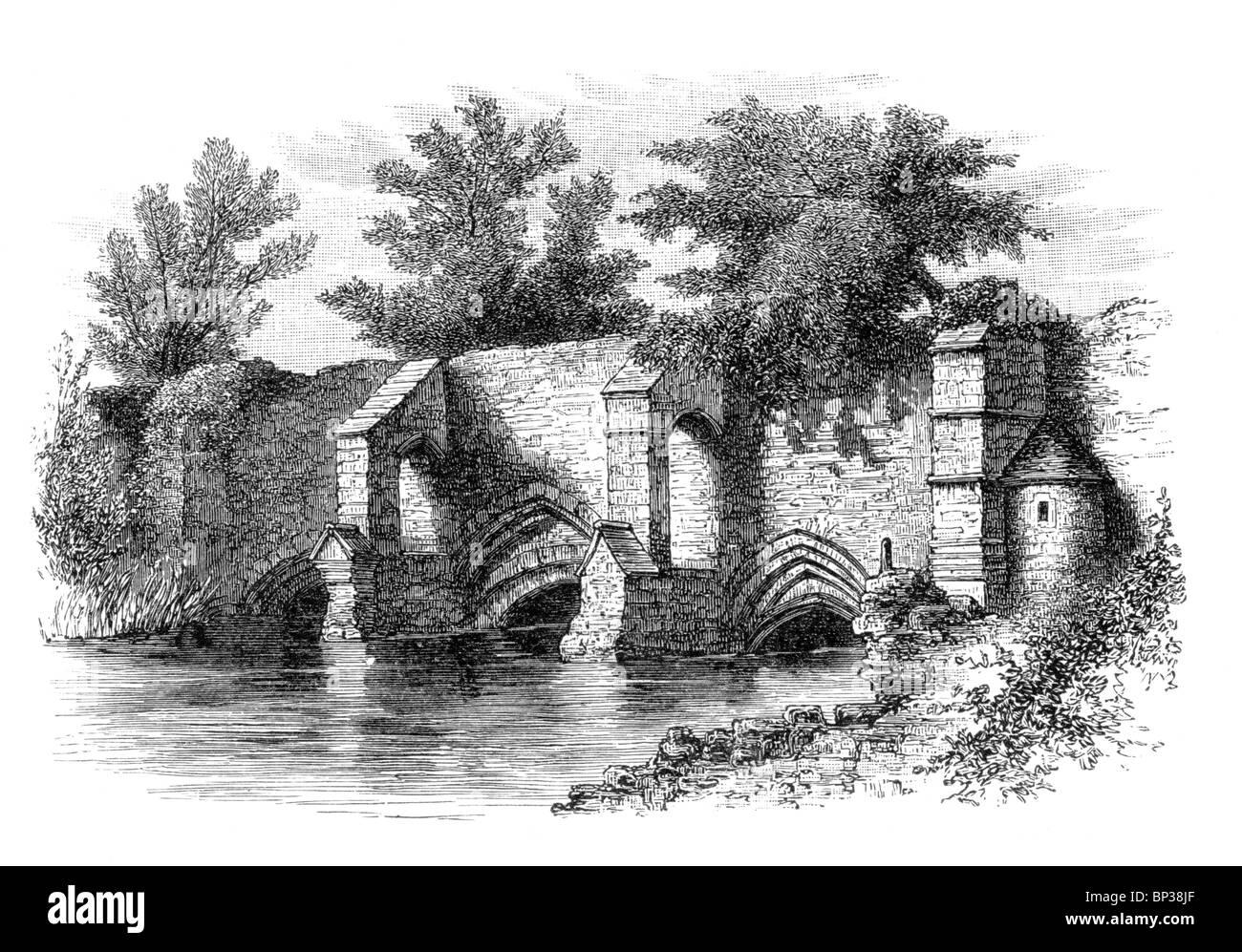 Black and White Illustration; Abbot's Bridge, Bury St Edmunds; 13th century; - Stock Image