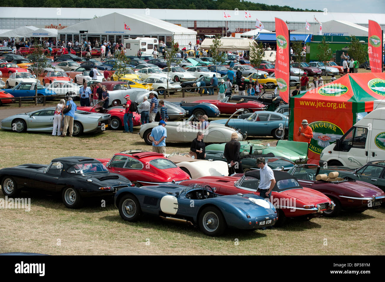 Jaguar sports cars on show at 2010 Silverstone Classic, UK - Stock Image