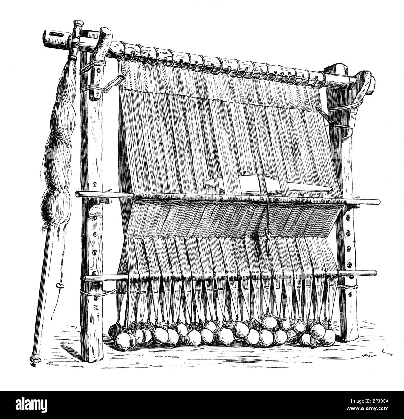 Black and White Illustration; 12th century weaving loom from the Faroe Isles - Stock Image