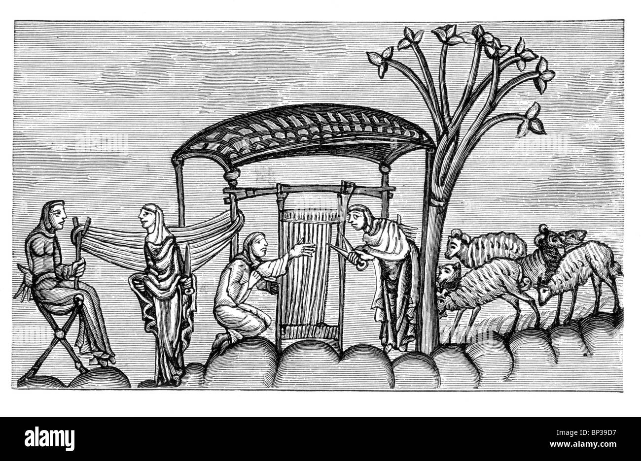 Black and White Illustration; Women weaving 12th century; - Stock Image