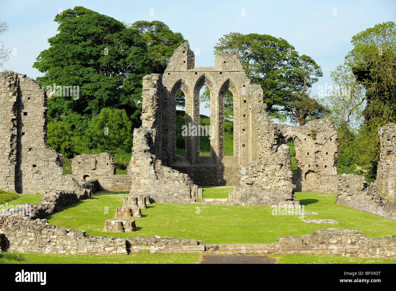 Inch Abbey near Downpatrick, County Down, Northern Ireland. Norman Cistercian abbey founded 1180 by John de Courcy. Stock Photo
