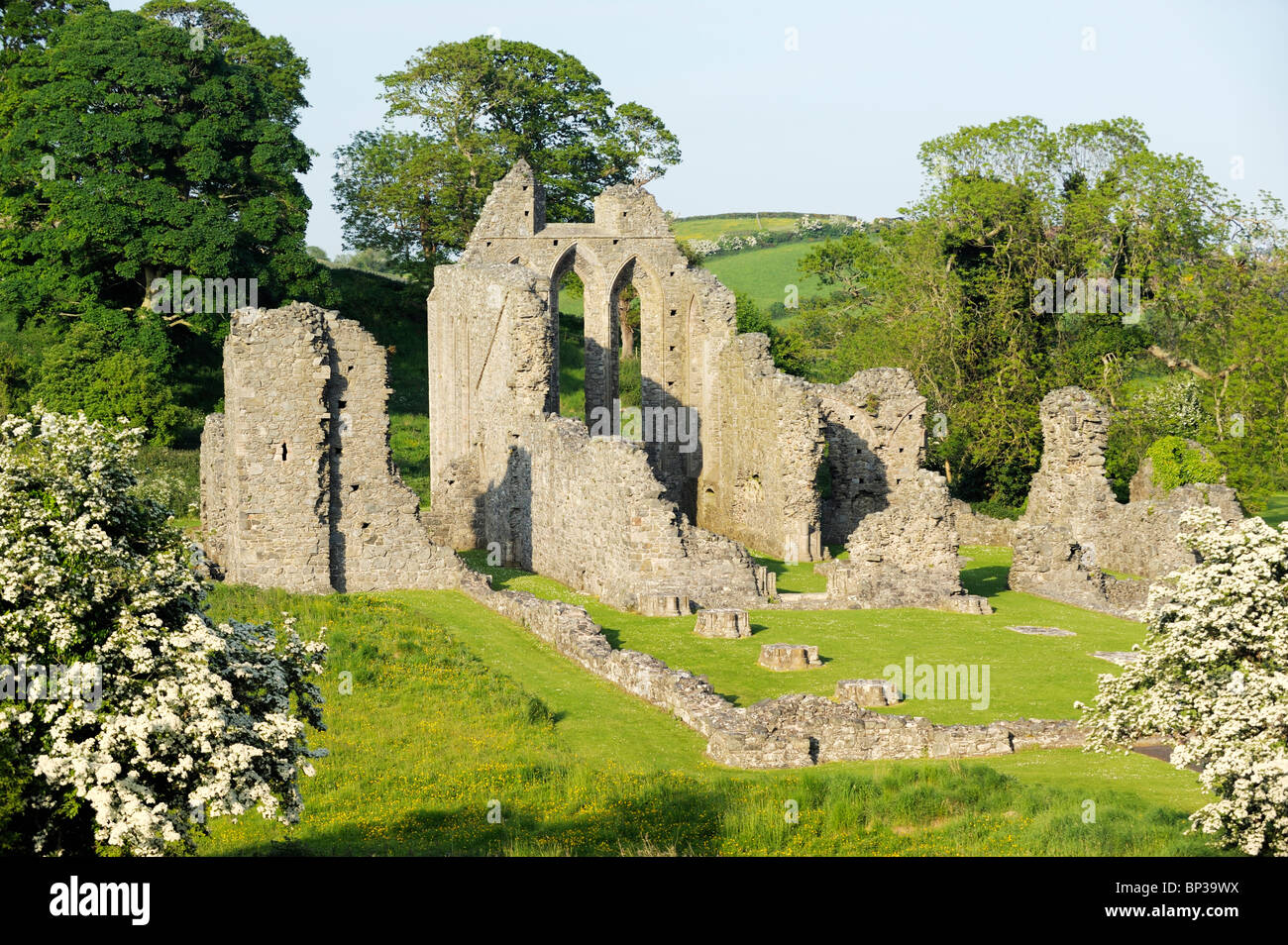 Inch Abbey near Downpatrick, County Down, Northern Ireland. Norman Cistercian abbey founded 1180 by John de Courcy. - Stock Image
