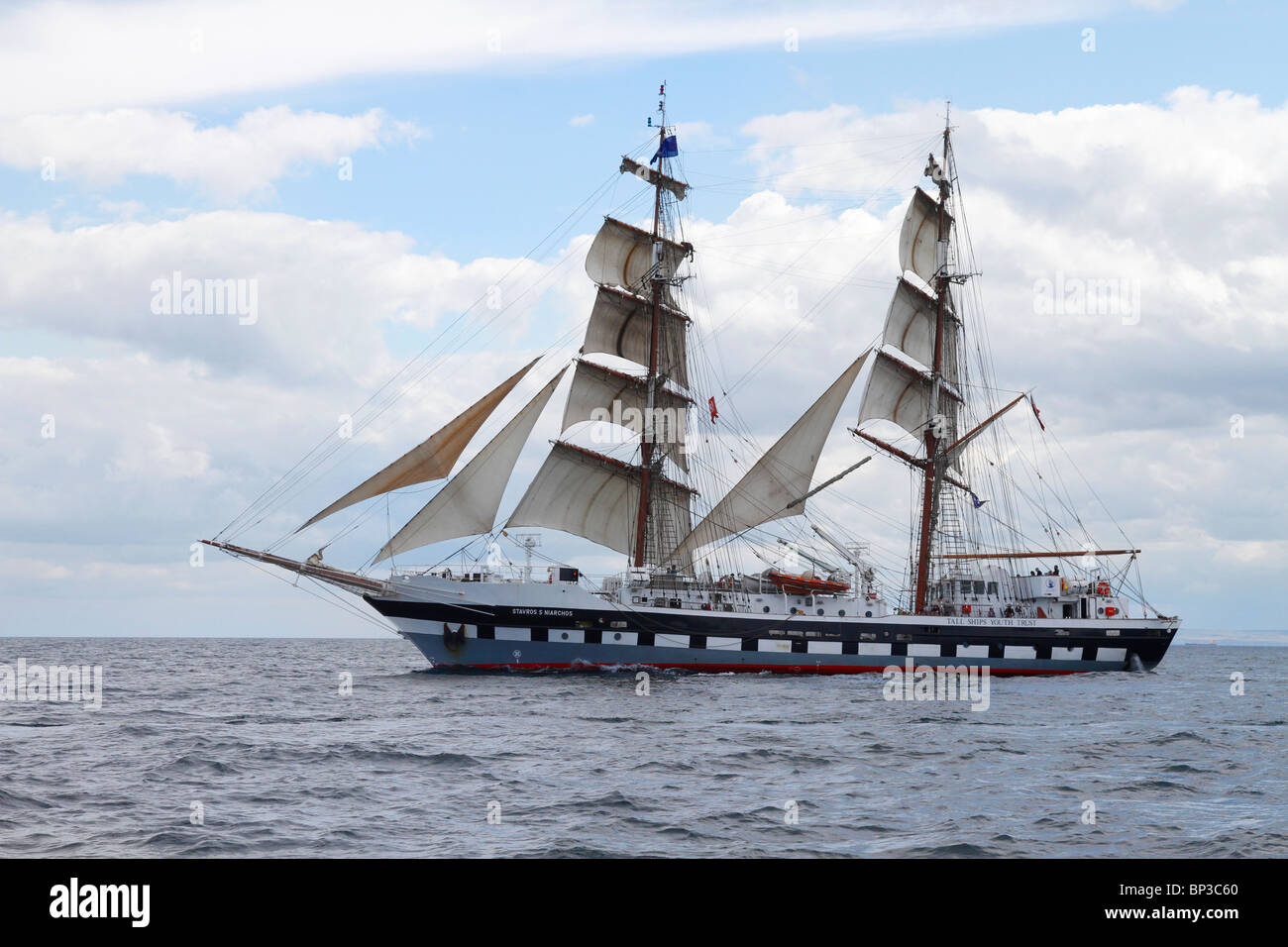 The two masted brig, tall sailing ship, of Stavros S Niarchos, under sail at Hartlepool 2010 Tall Ships Race, Teesside, Stock Photo