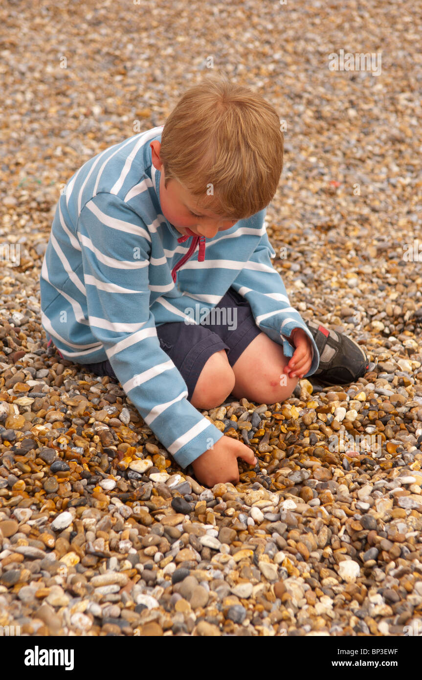 A MODEL RELEASED picture of a 6 year old boy picking up stones near the sea on a UK beach - Stock Image