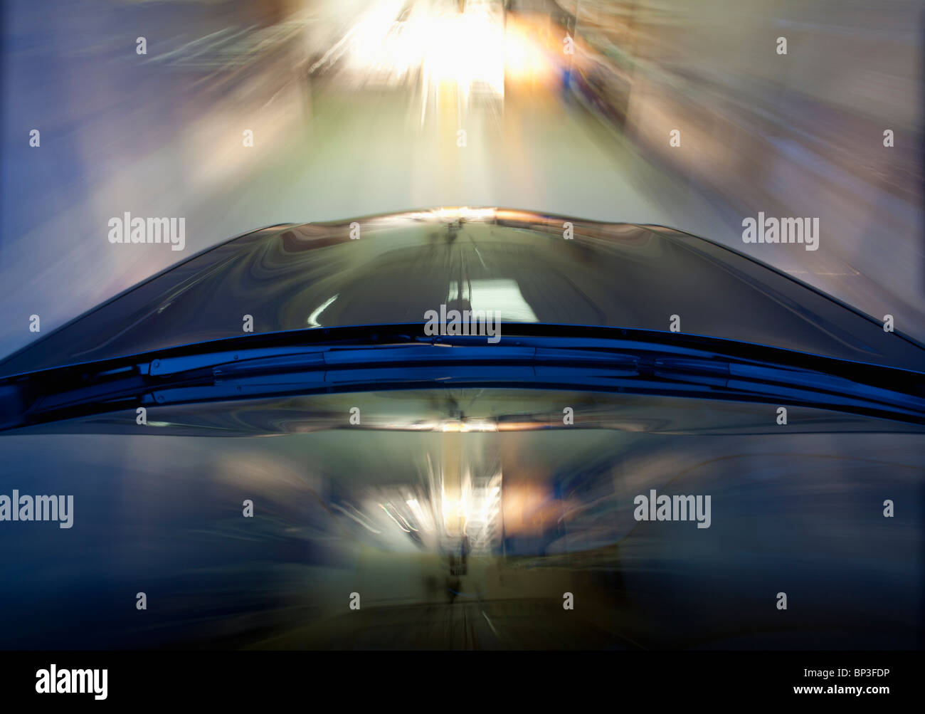 Pix of Car in motion in City - Stock Image