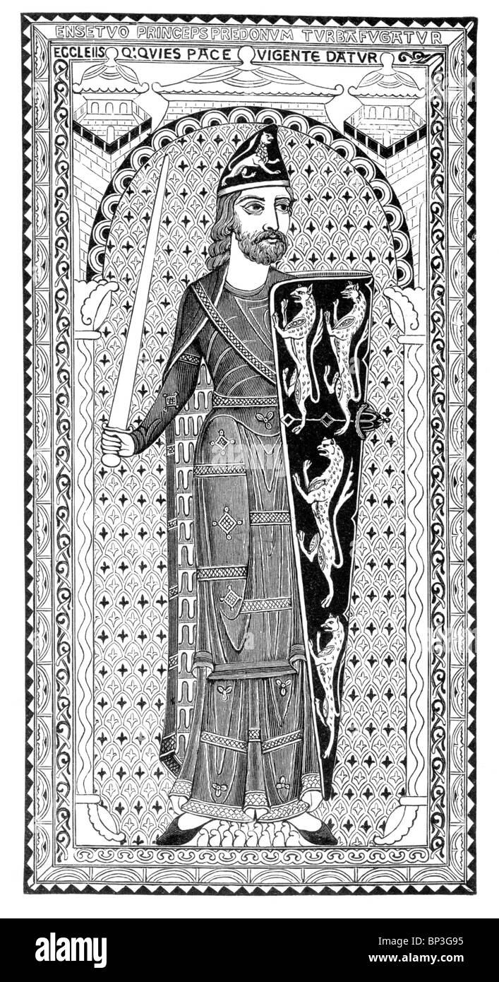 Black and White Illustration; Effigy of Geoffrey Plantagenet, Count of Anjou, on his tomb at Le Mans, France, 12th - Stock Image
