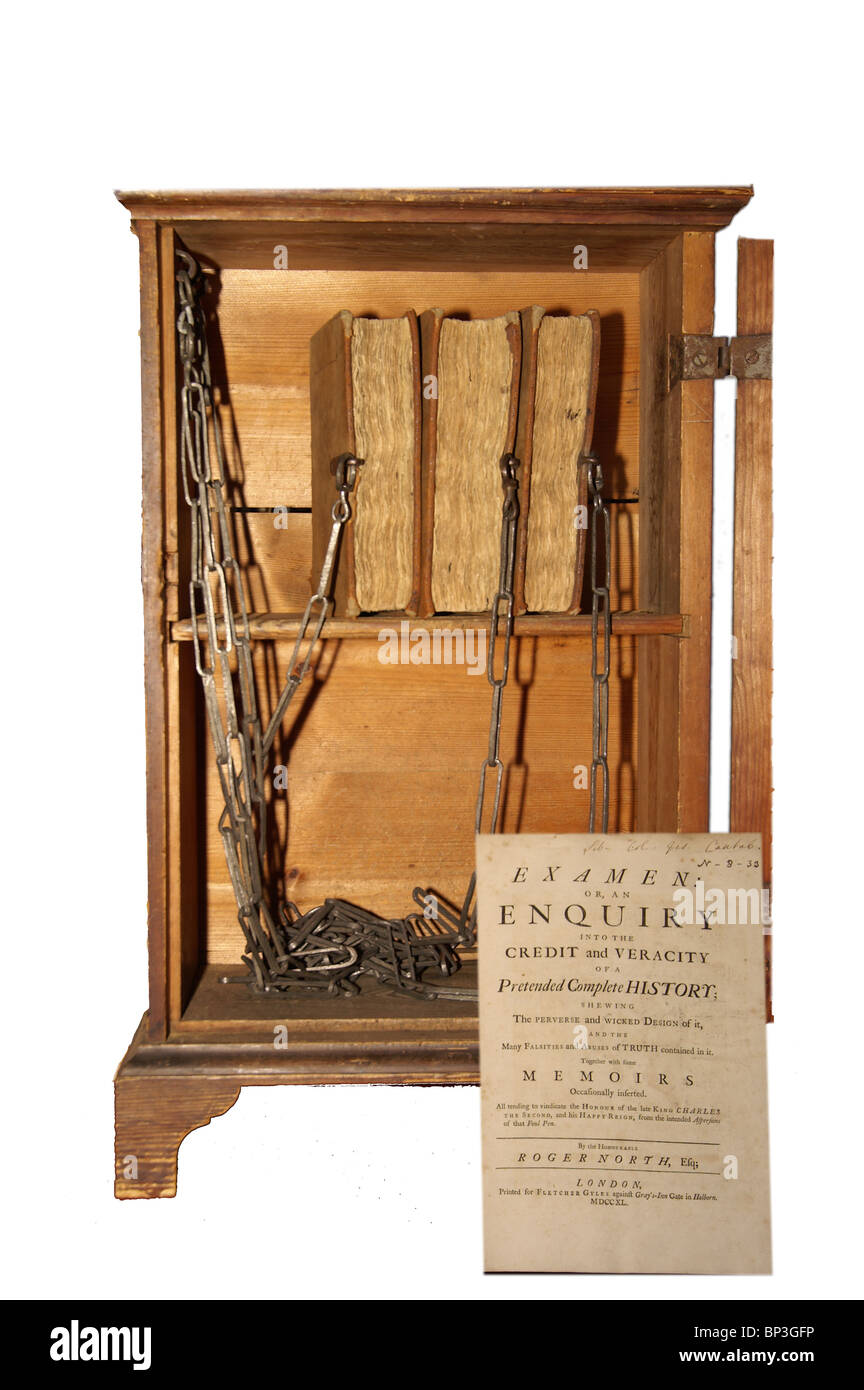 Chained books in a cabinet in the Old Library, Jesus College, Cambridge - Stock Image