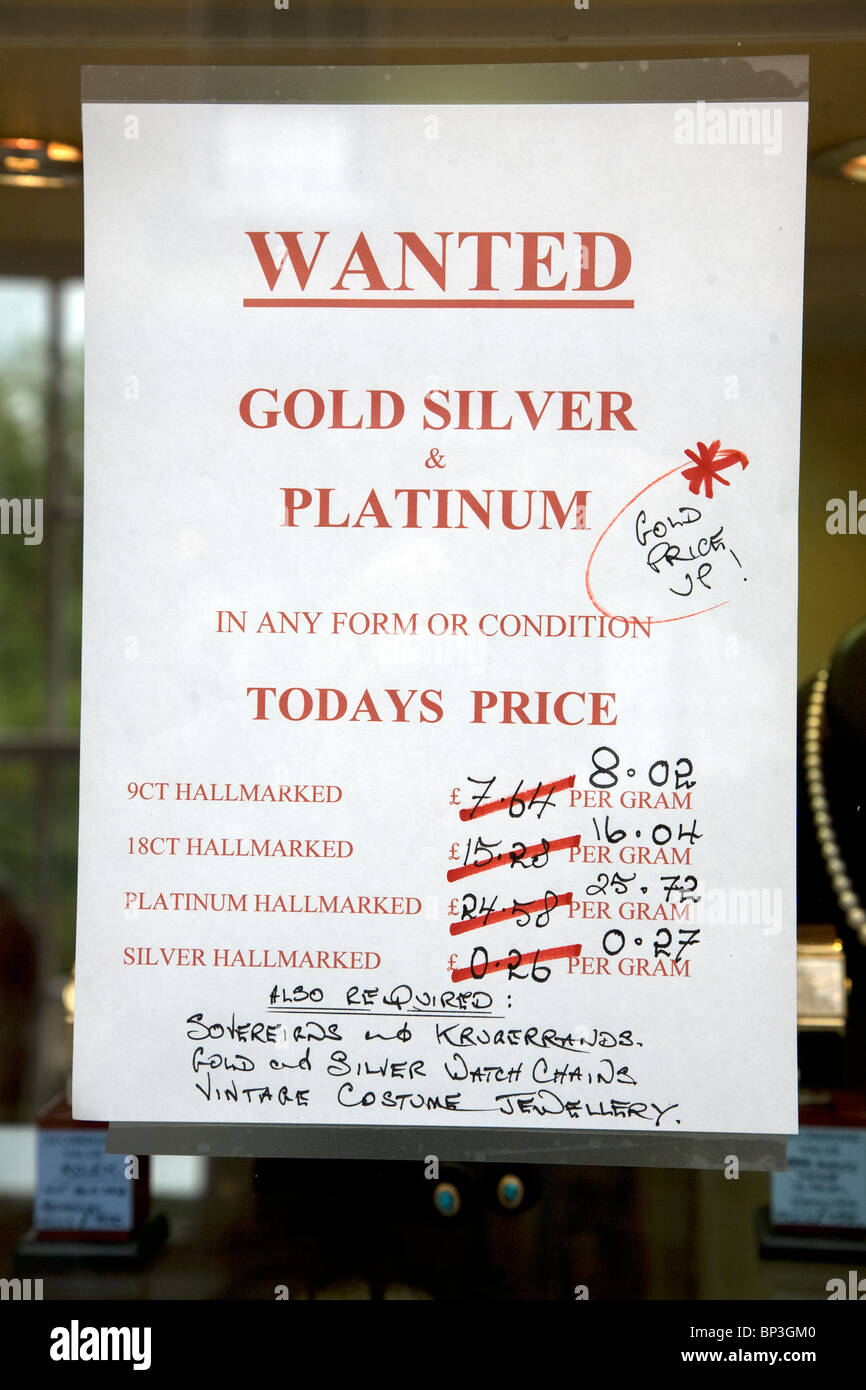 Wanted sign poster gold silver platinum prices - Stock Image