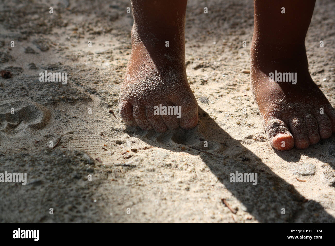 young girl's bare feet and toes in sand stock photo: 30812044 - alamy