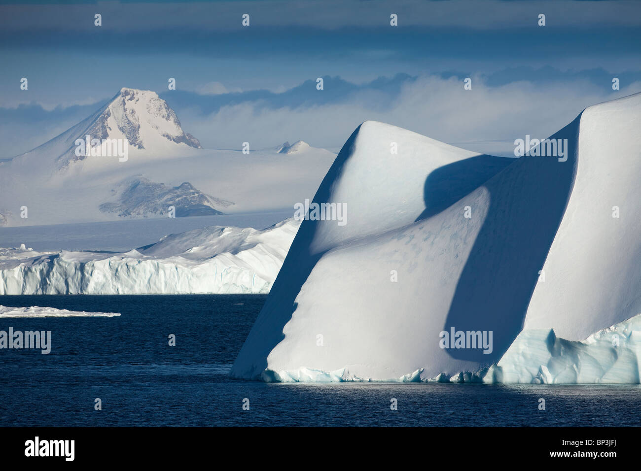 Icebergs in Antarctica in the summer - Stock Image