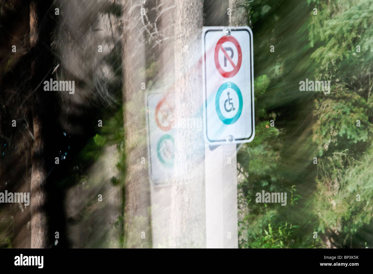 no parking, handicap sign, special photo effects - Stock Image