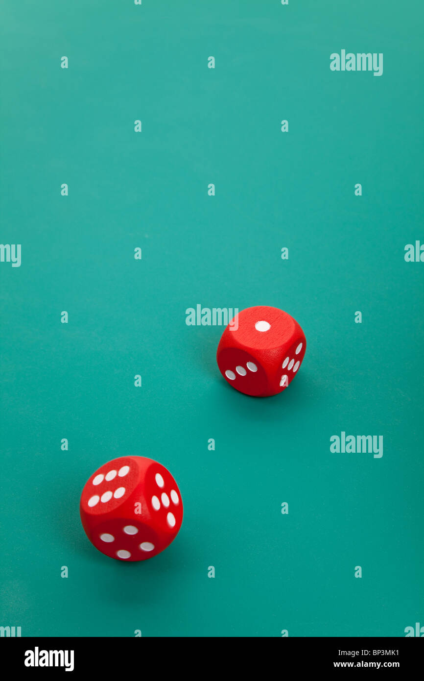 Red Dice, concept of gambling - Stock Image