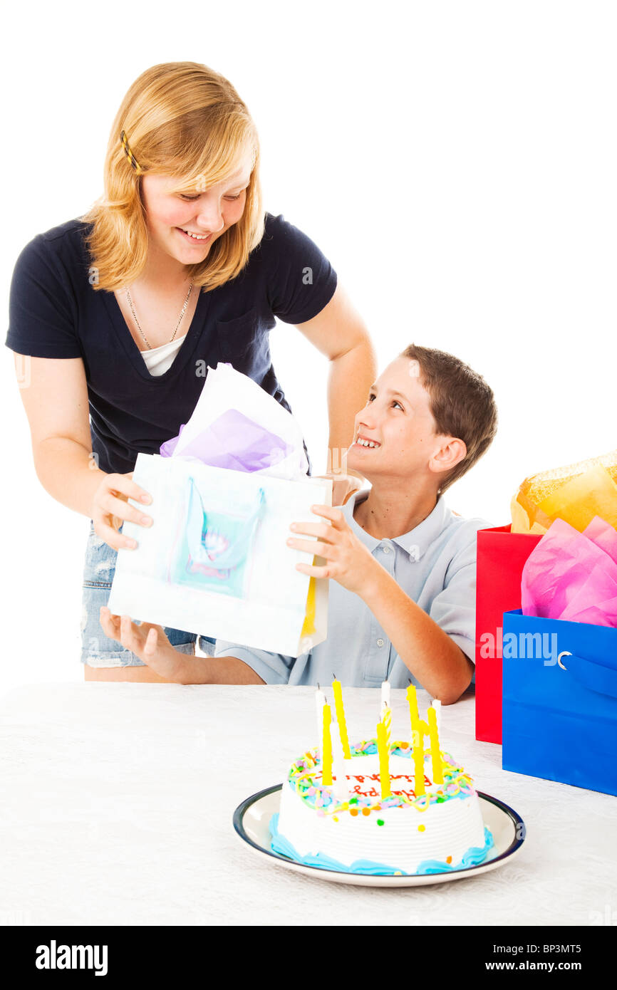 Little Boy Gets A Birthday Gift From His Older Sister White Background