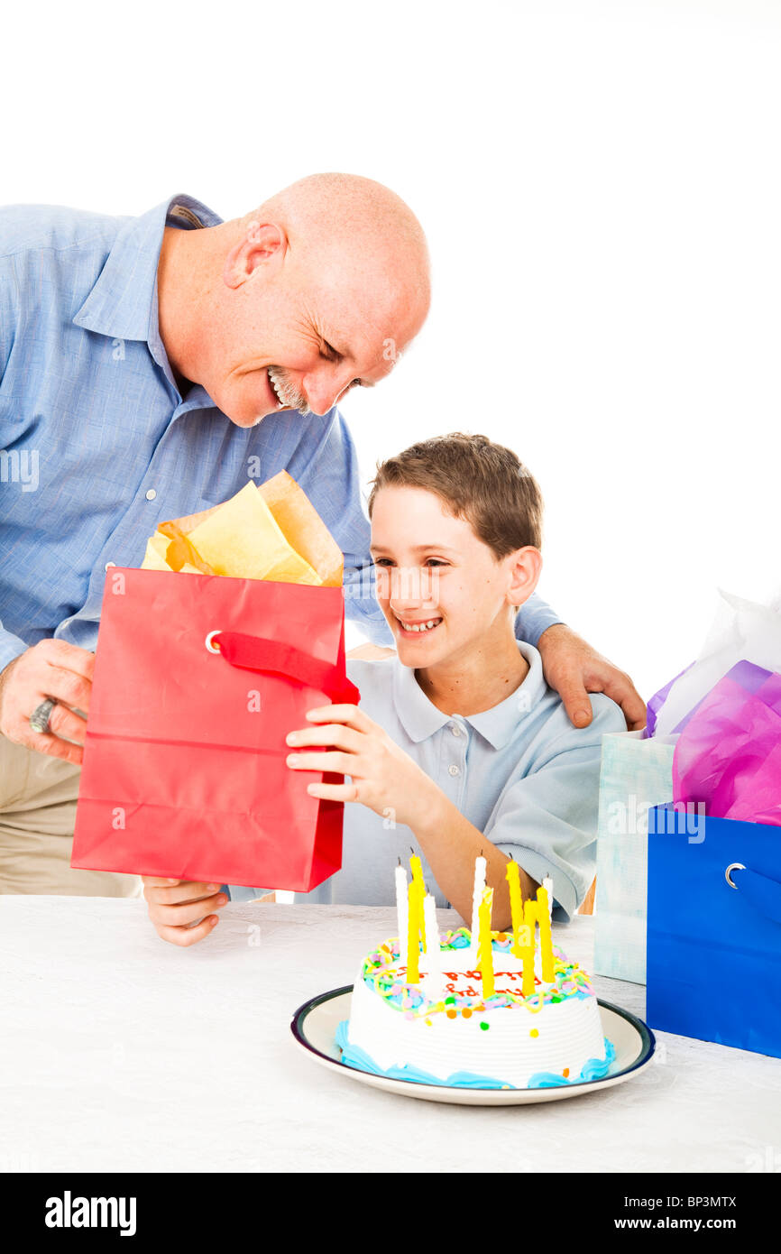 Father Gives A Birthday Gift To His Young Son White Background