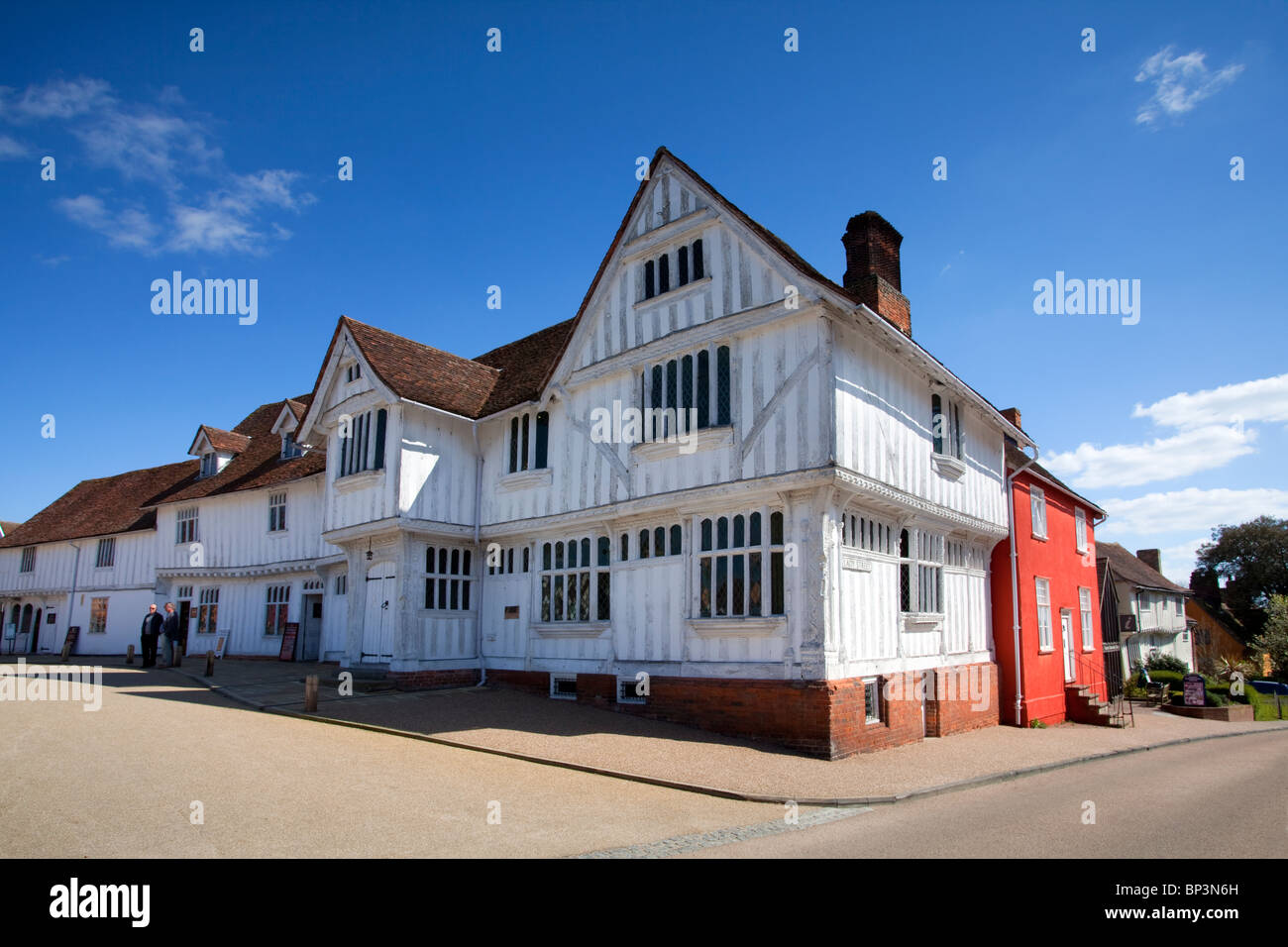 The Guildhall at historic Lavenham in  Suffolk on a bright sunny day - Stock Image