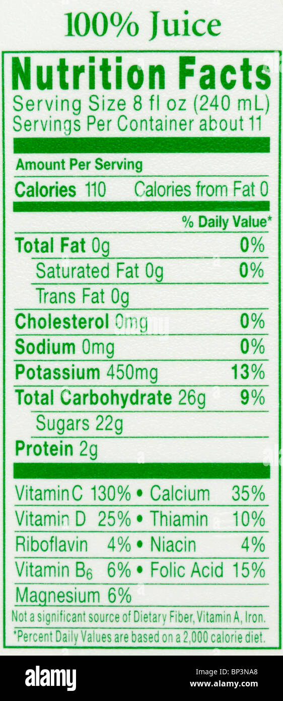 The nutrition facts label from a container of orange juice. - Stock Image