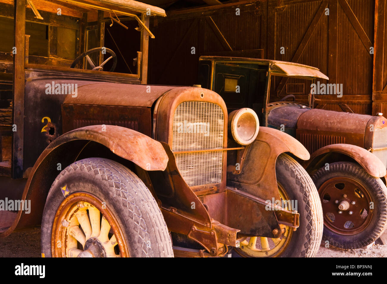 Classic cars at Scottys Castle, Death Valley National Park Stock ...