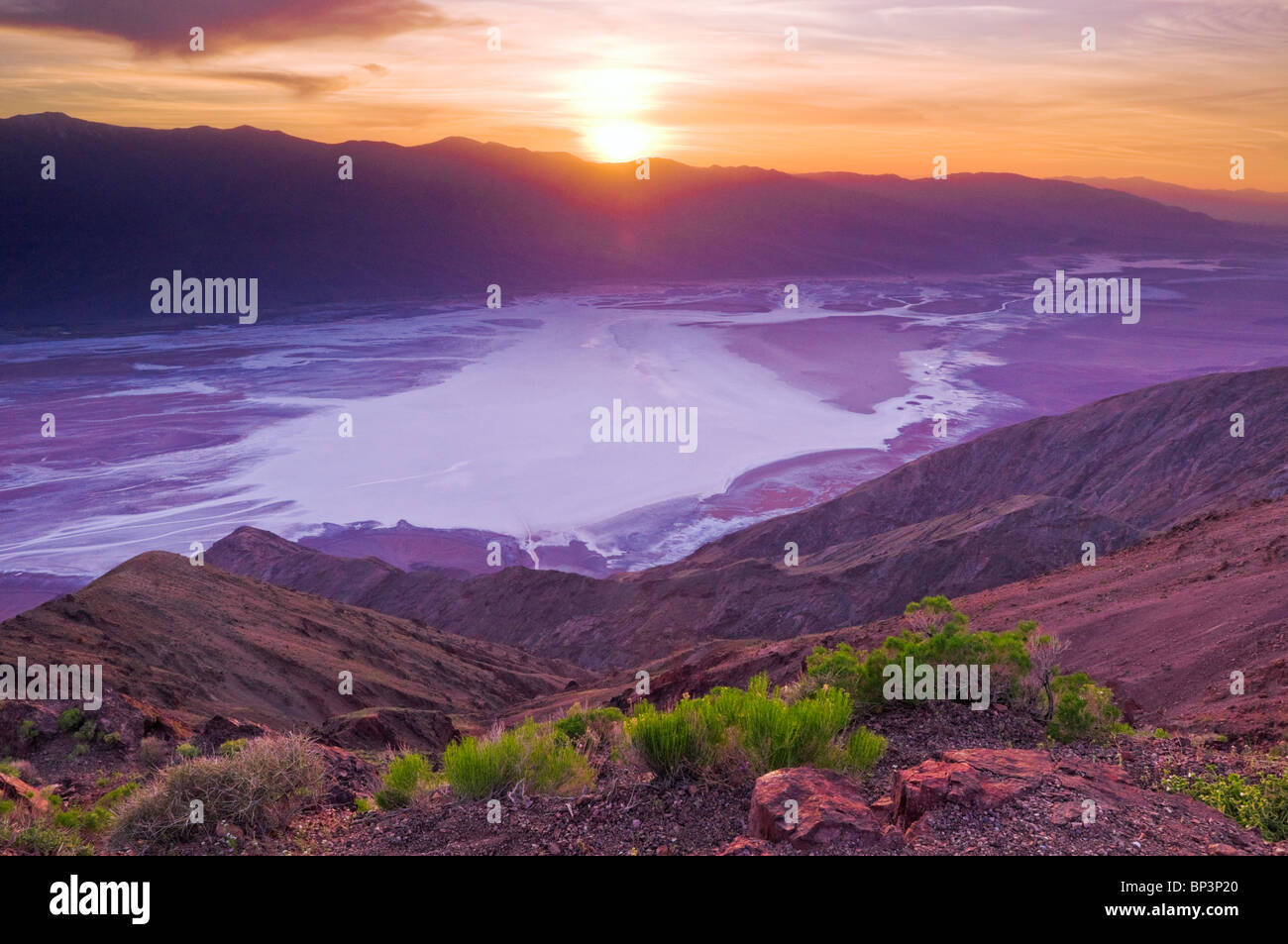 Sunset over Death Valley from Dante's View, Death Valley National Park. California Stock Photo