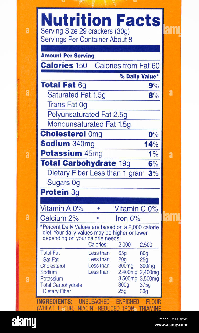 Nutrition facts label from a box of crackers. - Stock Image