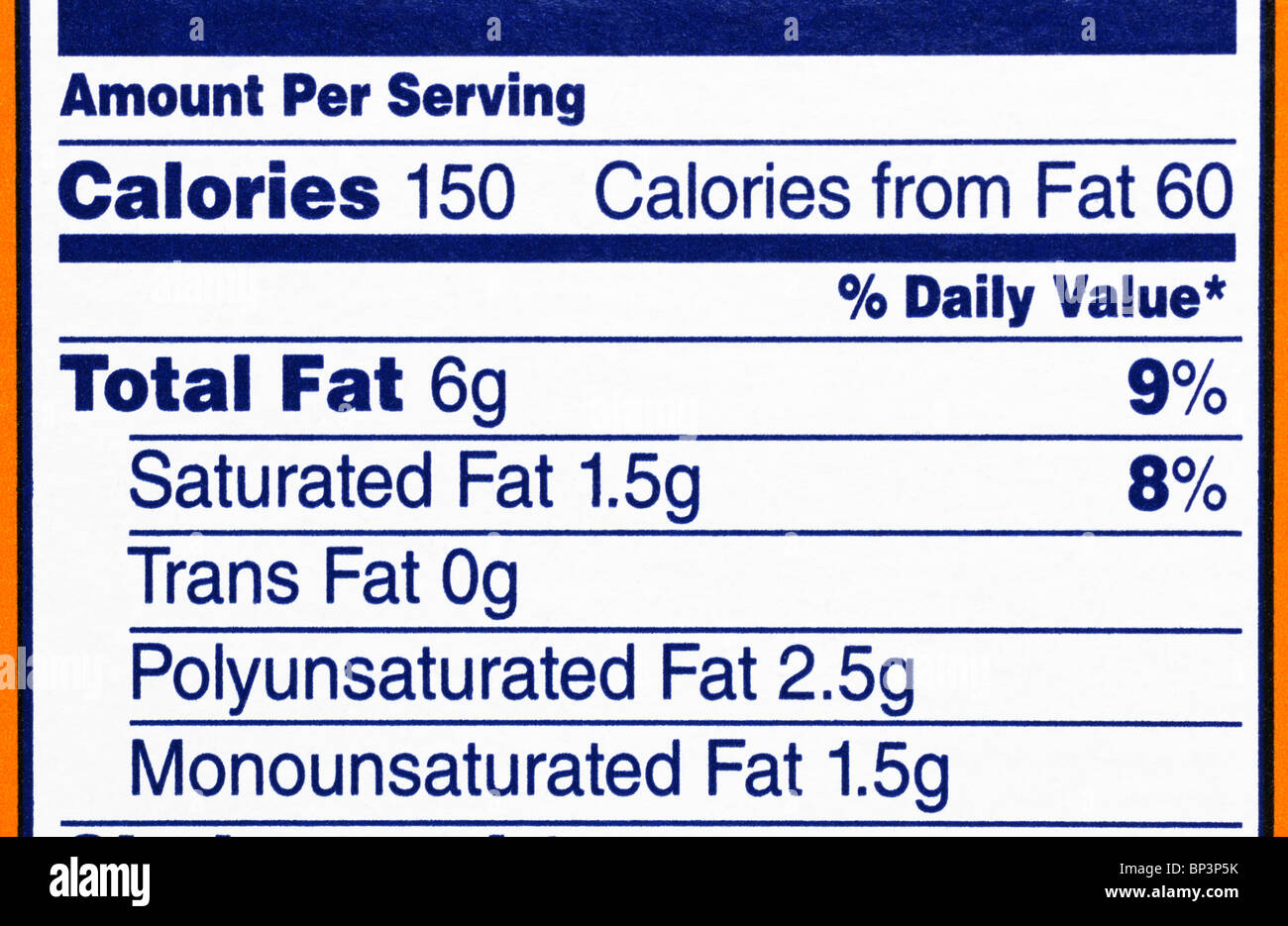 Nutrition facts label from a box of crackers, focusing on calorie and fat content. - Stock Image