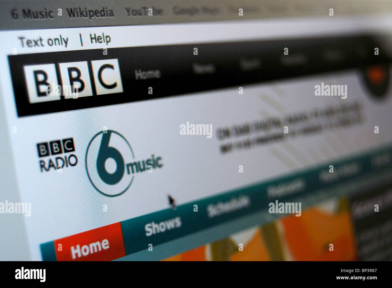 A photo illustration of the BBC 6 Music Website or homepage Stock Photo