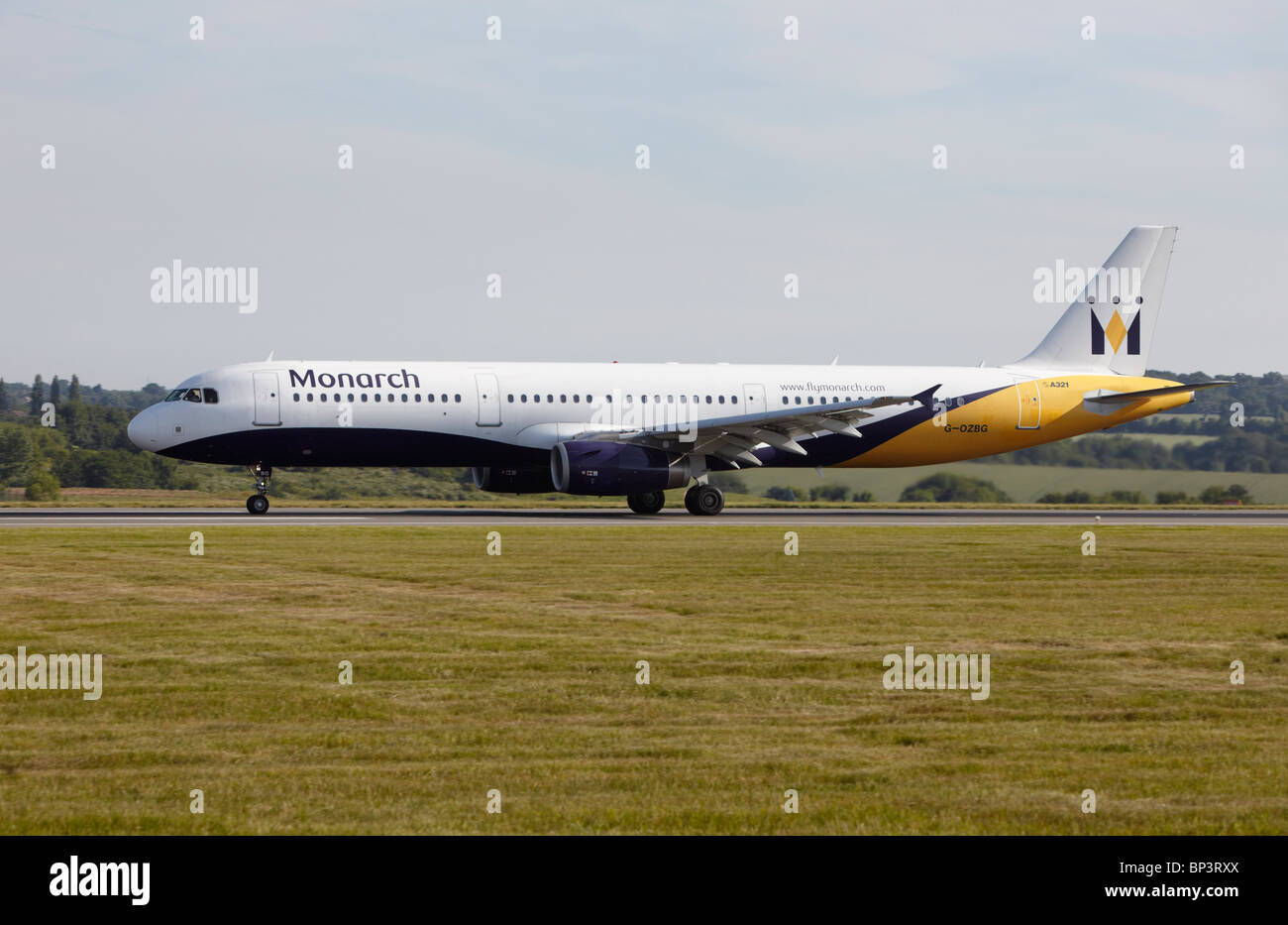 Monarch Airlines Airbus A321-231 taking off at Luton Airport, Bedfordshire, England, United Kingdom Stock Photo