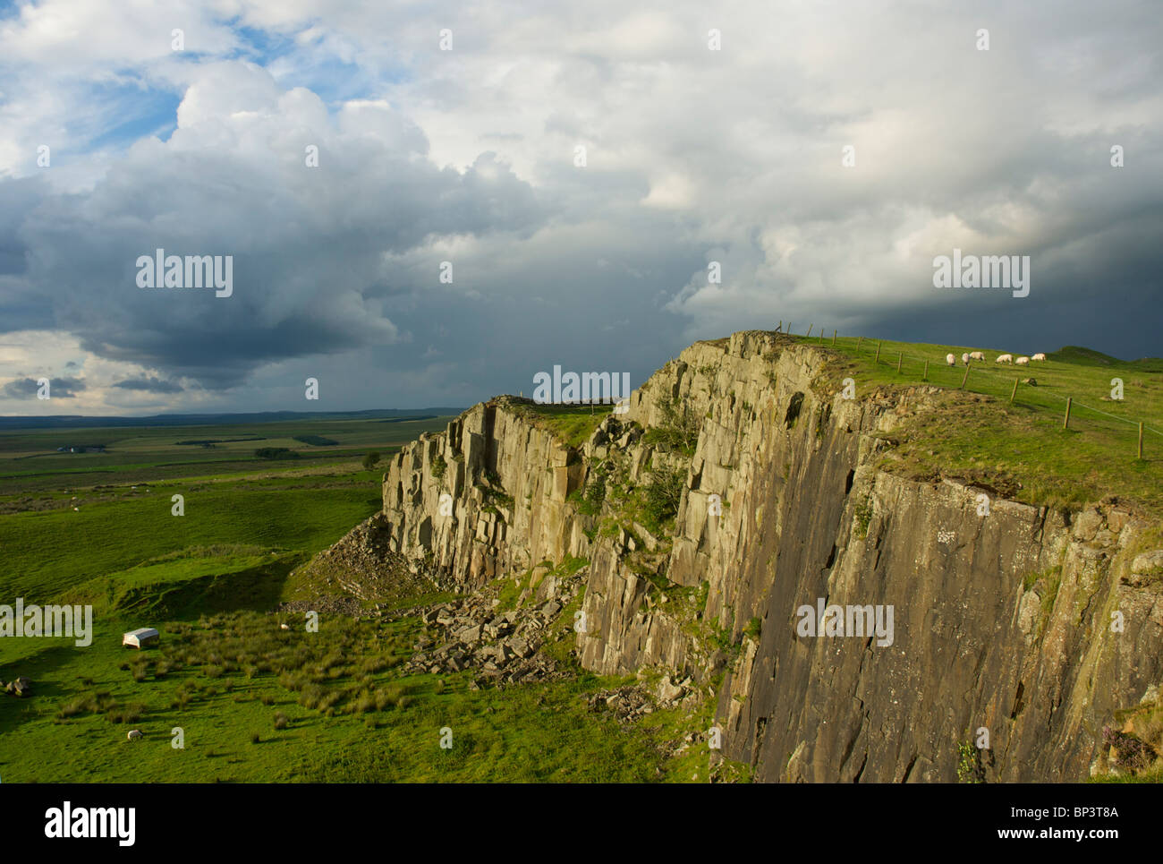 Walltown Crags on Hadrian's wall, near Greenhead, Cumbria, England UK - Stock Image