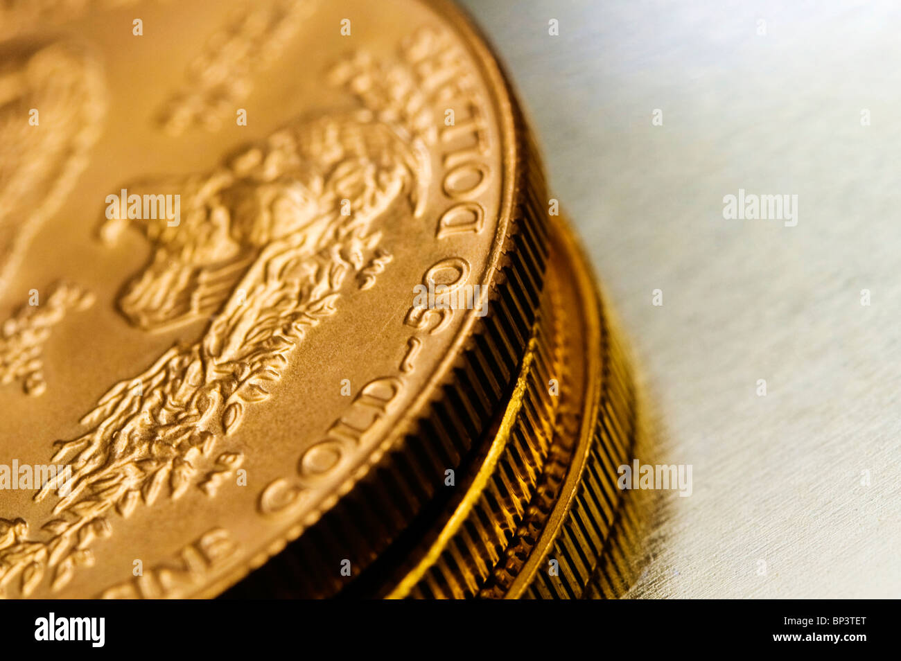 stack of gold bullions - Stock Image