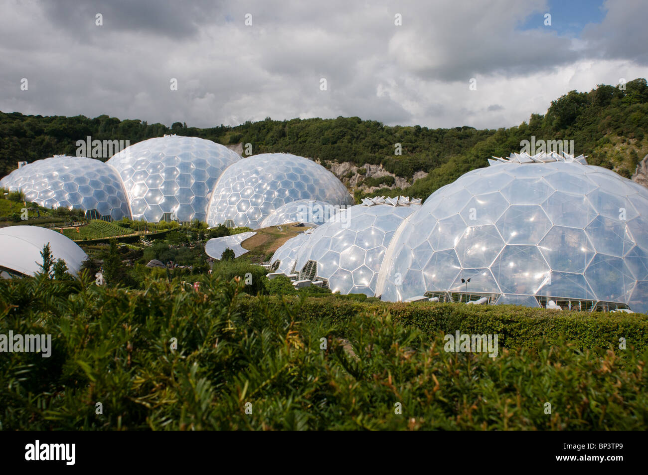 External view of the Tropical and Mediterranean biomes at The Eden Project, near St Austell, Cornwall, UK - Stock Image