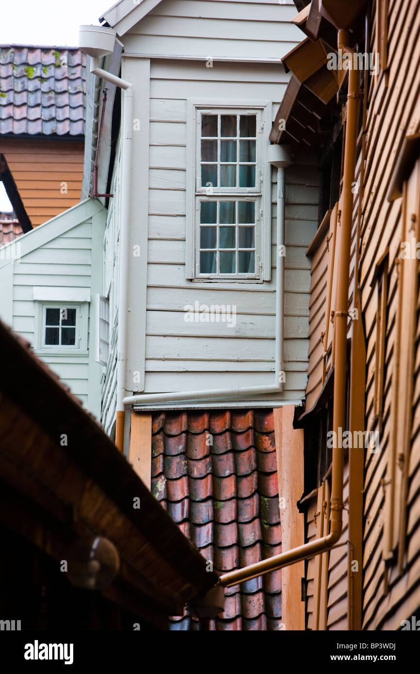 Norway Bryggen Hanseatic  commercial buildings - Stock Image