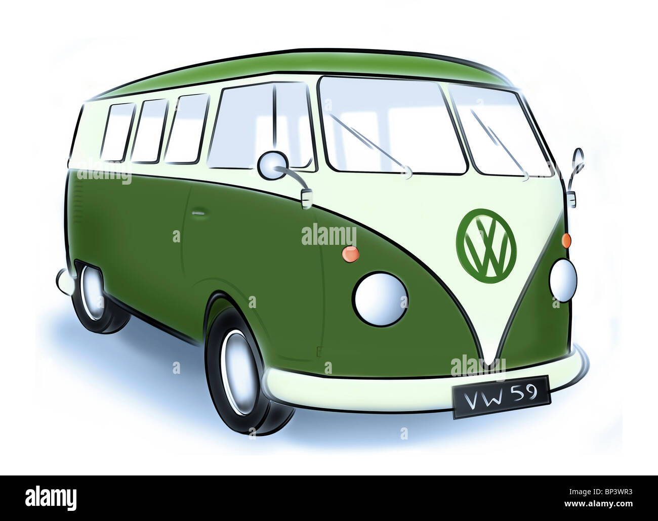 illustration of a 1950s Volkswagen two tone classic Beetle campervan. - Stock Image