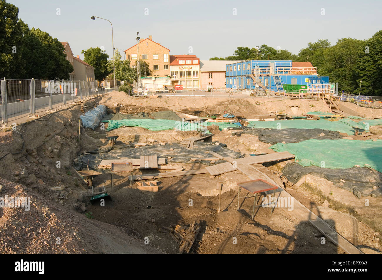 archaeological  dig trench trenches archaeologist archeology history historic finds site site interest nykoping - Stock Image