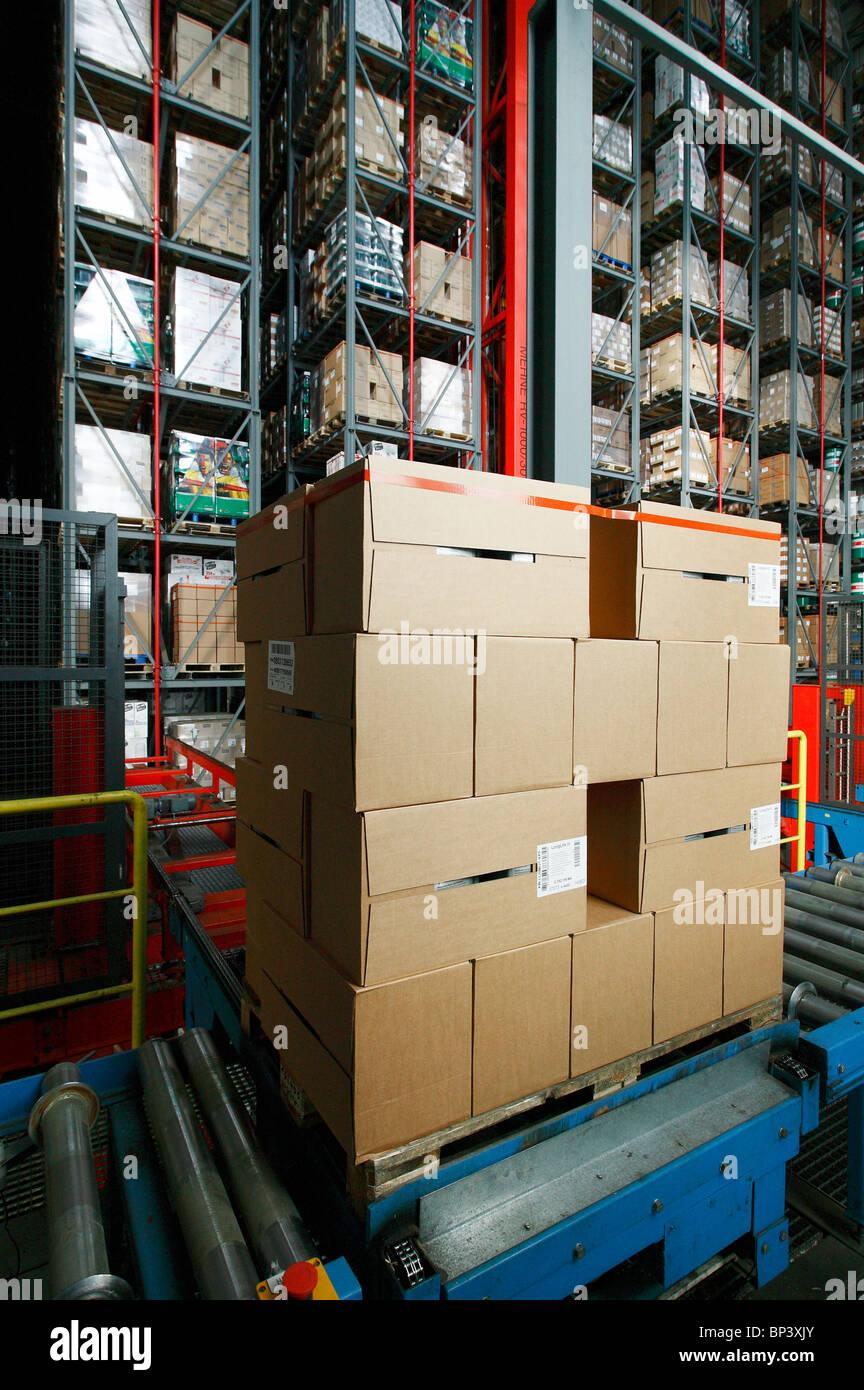 High rack warehouse of the Suederelbe Logistik, Hamburg, Germany Stock Photo