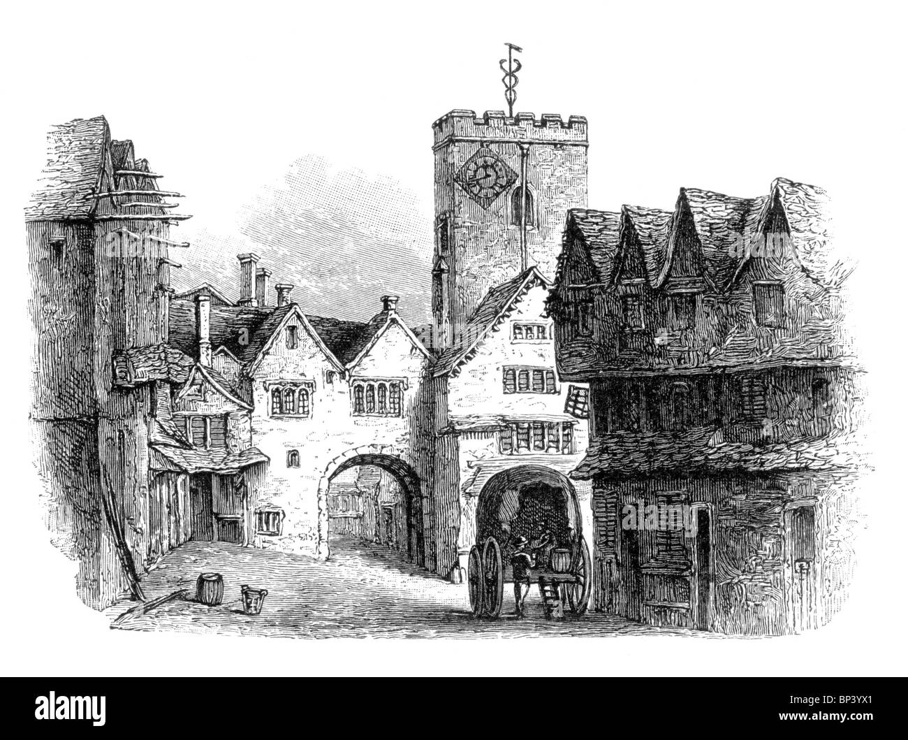 Black and White Illustration; South view of the North Gate or Bocardo, with the tower of St Michael's Church, - Stock Image