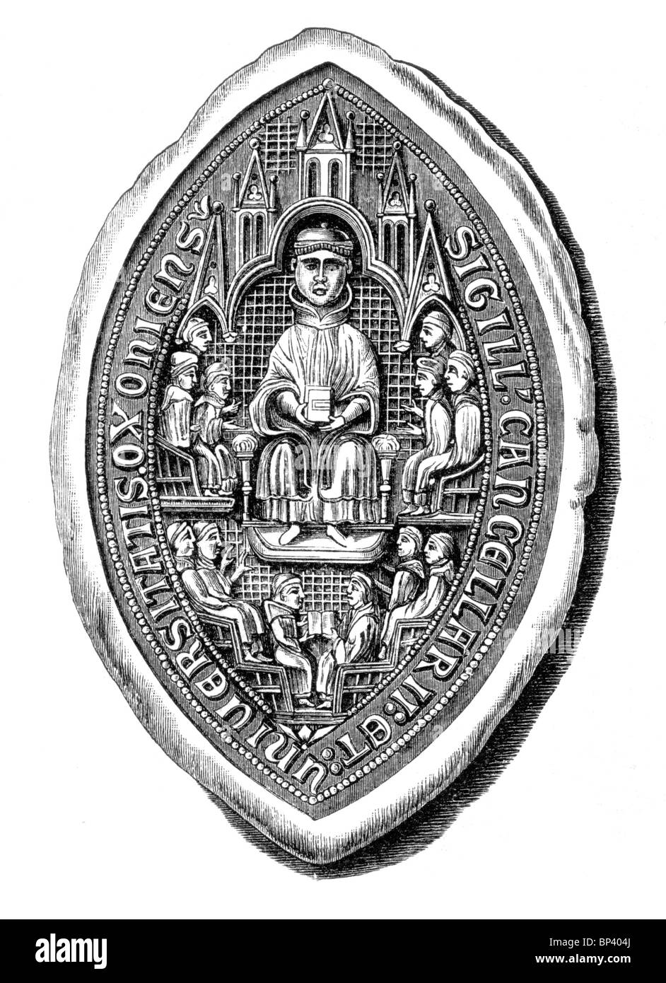 Black and White Illustration; Seal of the University of Oxford; 13th century Stock Photo