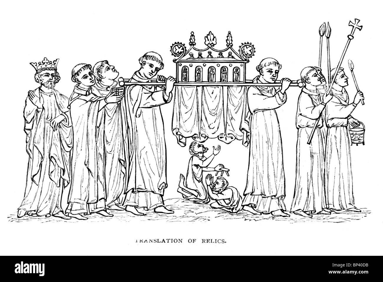 Black and White Illustration; Translation of Saint's Relics; Illumination probably by Matthew Paris Monk of - Stock Image