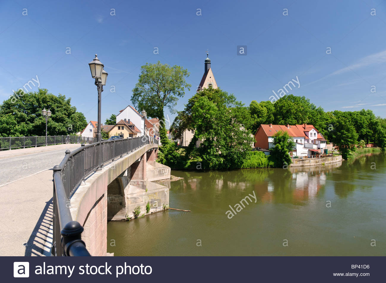 Bridge over the Saale river, Merseburg, Saxony-Anhalt, Germany, Europa - Stock Image