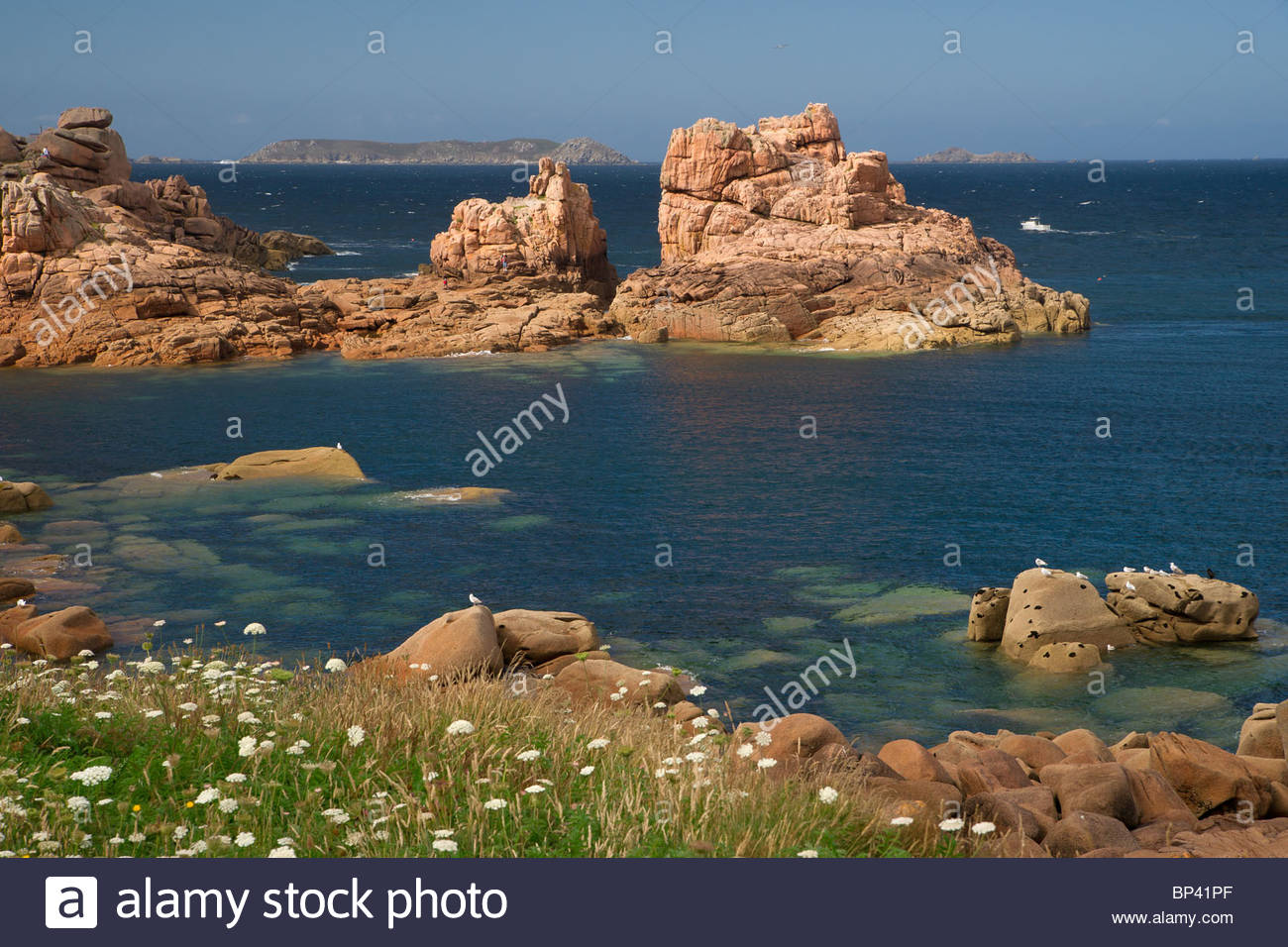 Côte de granit rose at Ploumanac'h near Perros Guirec in Brittany - France Stock Photo