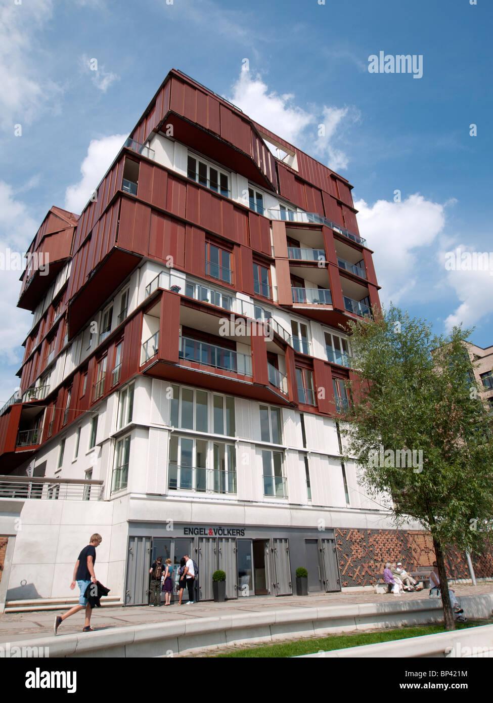 Modern apartment building at Vasco Da Gamma Platz in new Hafencity property development in Hamburg Germany - Stock Image