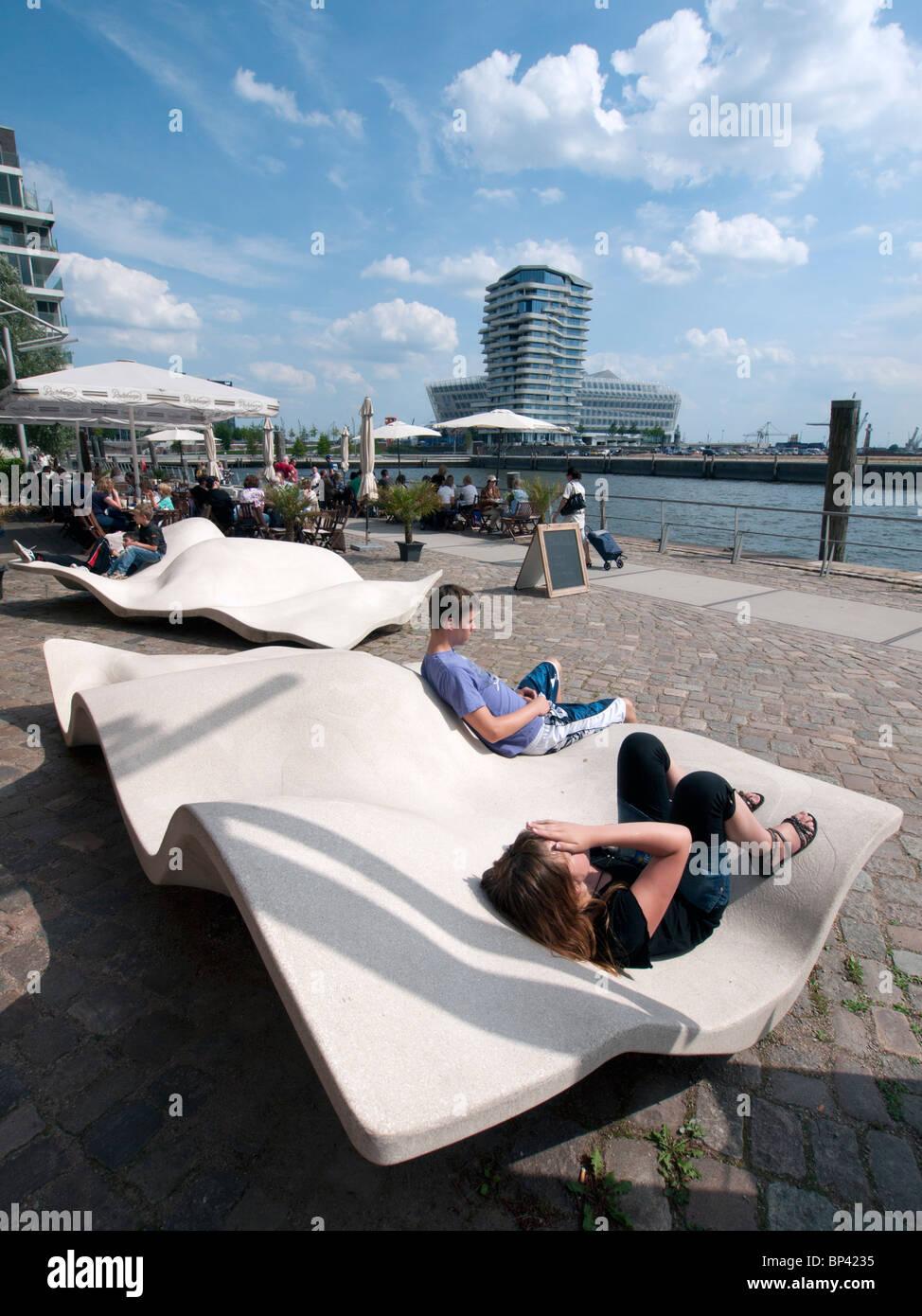 Modern promenade at Vasco Da Gamma Platz in new Hafencity property development in Hamburg Germany - Stock Image