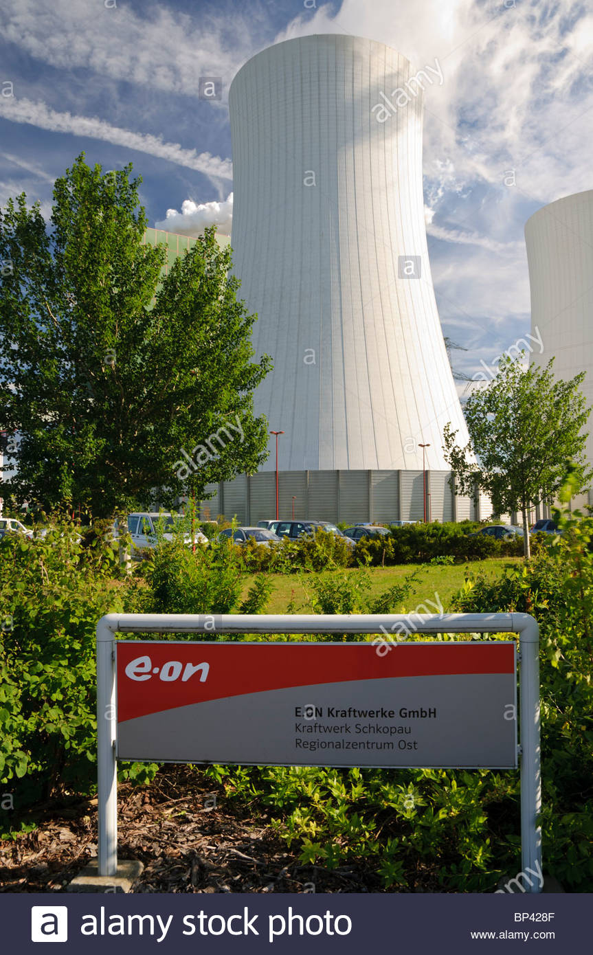A power plant of the E.ON energy corporation, Schkopau, Saxony-Anhalt, Germany, Europe - Stock Image