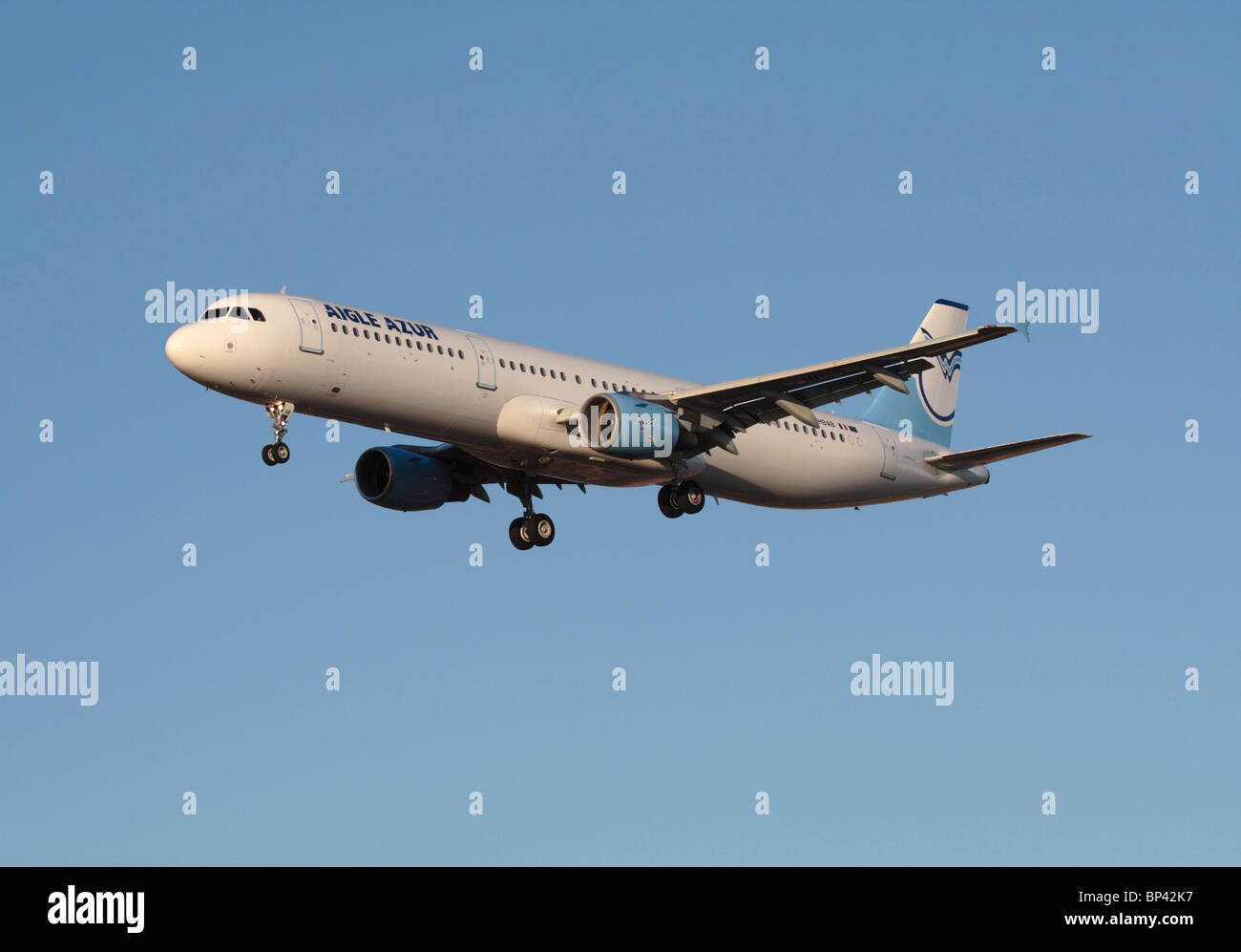 Aigle Azur Airbus A321 airliner on approach - Stock Image
