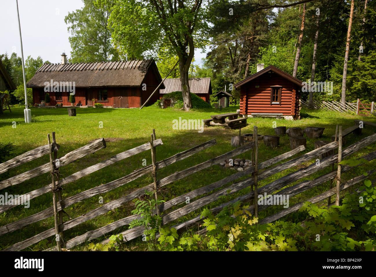 Traditional wood-fenced farmstead on Saarema island, Estonia - Stock Image