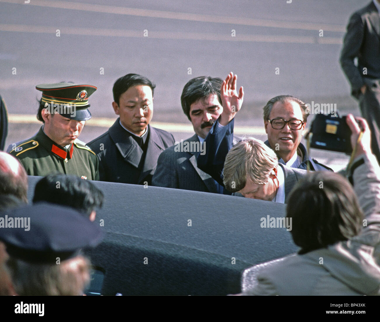 Zhao Ziyang, Premier Peoples Republic of China, waves to a photographer  during a 1984