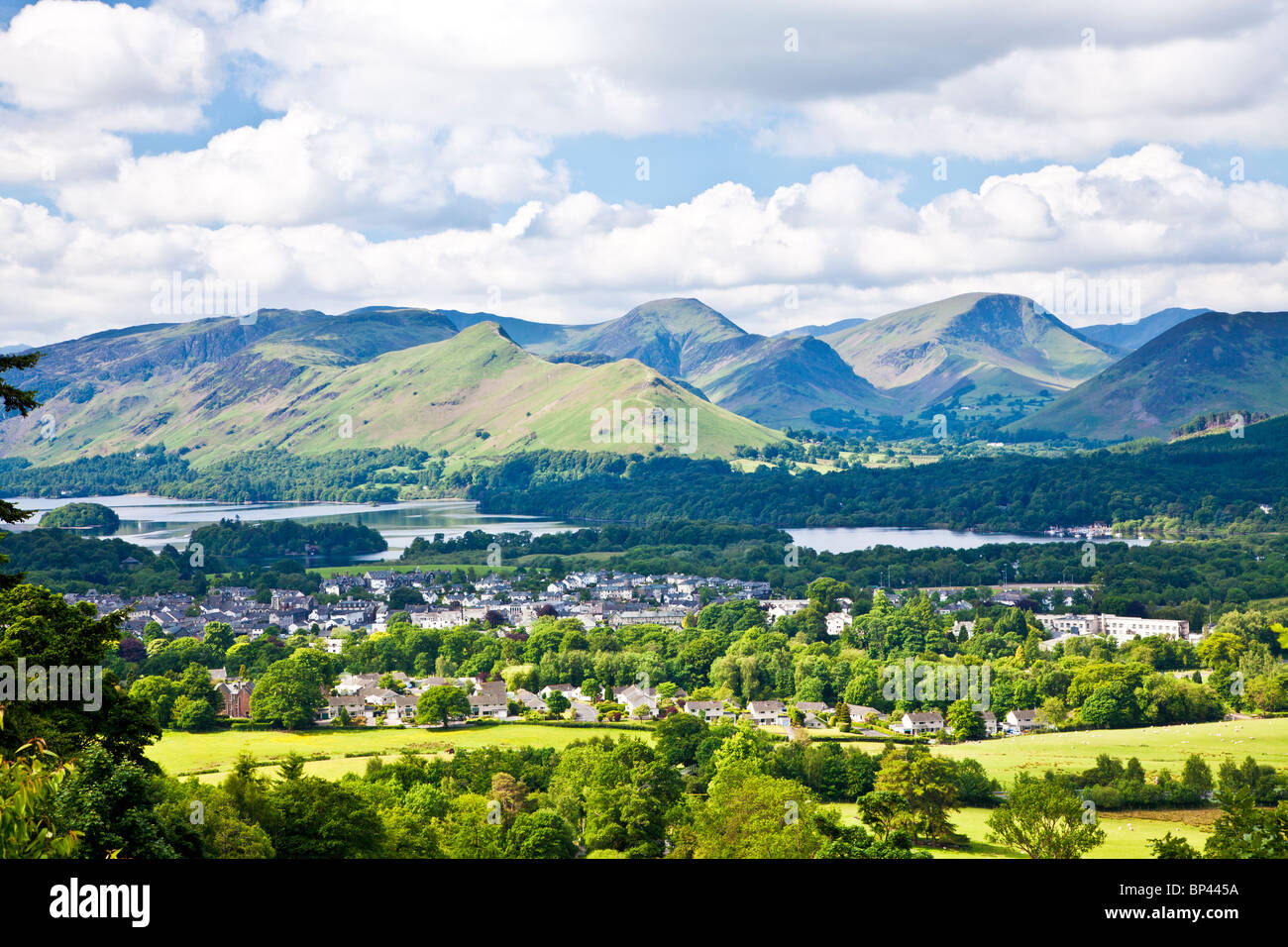 View over Keswick, Derwent Water and Cat Bells, Lake District, Cumbria, England, UK - Stock Image