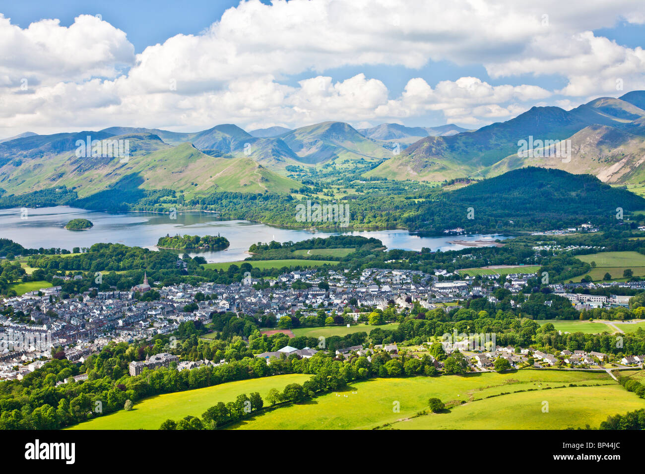 View from Latrigg over Keswick, Derwent Water and Cat Bells, Lake District, Cumbria, England, UK - Stock Image
