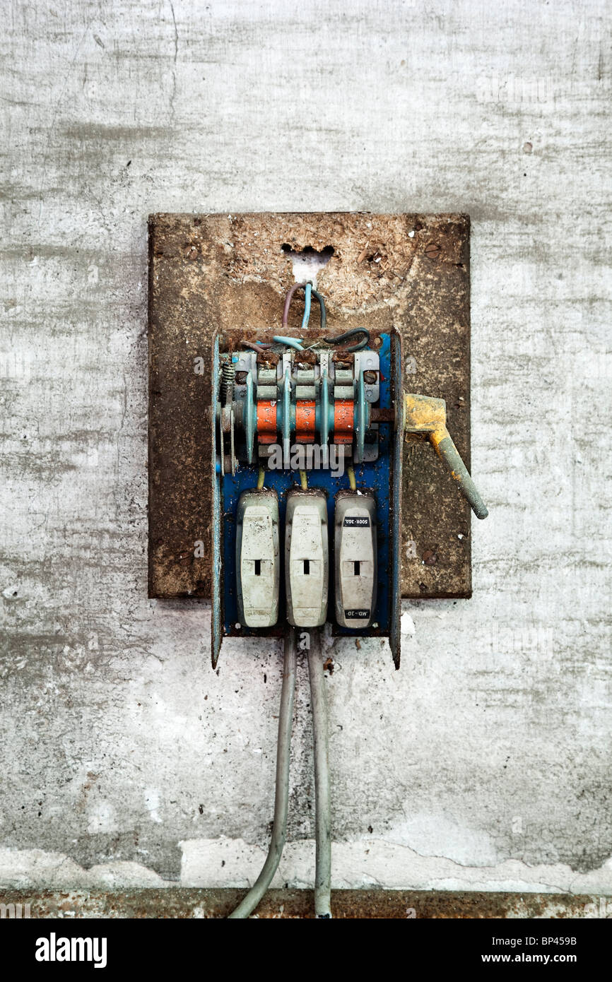 Old electrical fuse box stock photos