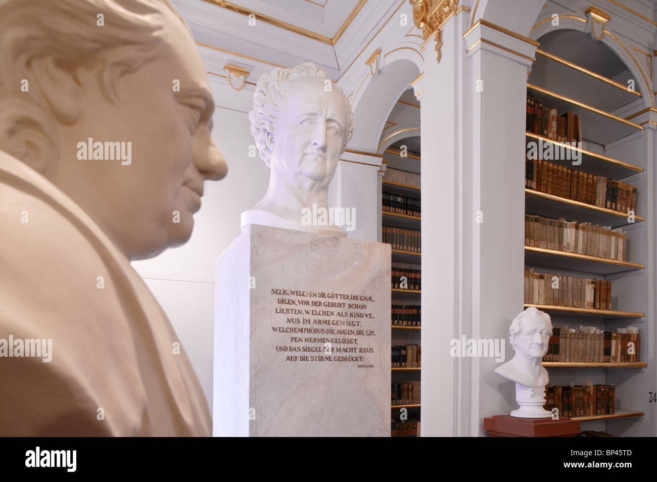 Rococo room inside the Duchess Anna Amalia Library in Weimar, Germany - Stock Image